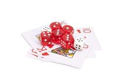 Играть карточки и dices Стоковые Изображения
