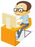 играть компьютера мальчика иллюстрация штока