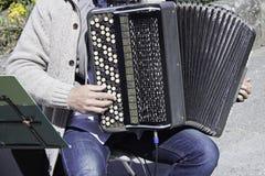 играть музыканта аккордеони стоковое изображение