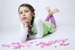 играть песчинки девушки розовый Стоковое фото RF