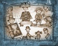 играть пиратов иллюстрация штока