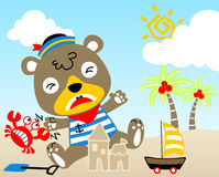 играть пляжа иллюстрация вектора