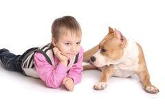играть собаки ребенка Стоковые Фото