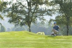 играть человека гольфа курса горизонтальный стоковые фото