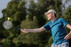 играть человека badminton стоковая фотография