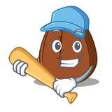 Играть шарж характера кофейного зерна бейсбола Стоковые Изображения