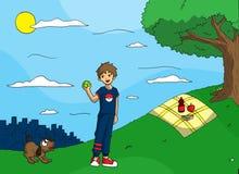 Играть шарик с моей собакой Стоковые Изображения