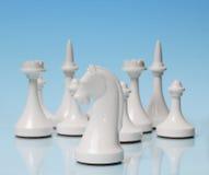 играть шахмат Белый рыцарь против остальноев диаграмм Стоковые Изображения RF