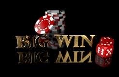 Играя в азартные игры обломоки и кость на черной предпосылке с отражением с ВЫИГРЫШЕМ слова БОЛЬШИМ как сообщение иллюстрация штока