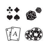 Играя в азартные игры установленные иконы Карточка и казино Стоковое Изображение