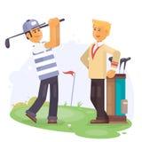 Играя в гольф друзья держа клубы на illustartion вектора поля для гольфа Стоковая Фотография RF
