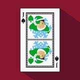 Играя карточка изображение значка легко пиковый ЭЛЬФ НОВОГО ГОДА ШУТНИКА ДЖЕКА spide ВОПРОС РОЖДЕСТВА с белизной субстрат основы  иллюстрация штока