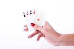 Играя карточки в руке Стоковое фото RF