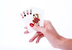 Играя карточки в руке Стоковое Изображение