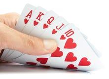 Играя карточки в руке Стоковые Изображения