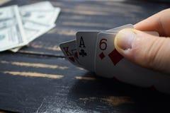 Играя карточки для денег, доллары Стоковая Фотография RF