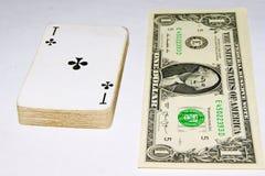 Играя карточки, деньги, доллар Стоковое Изображение