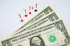 Играя карточки, деньги Стоковое Изображение