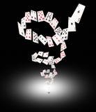 Играя карточки летая на таблицу покера Стоковая Фотография RF
