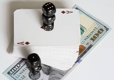 Играя карточки, кость и доллары Стоковые Фотографии RF