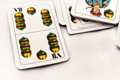 Играя карточки на белой предпосылке, конце вверх Стоковое Фото