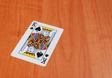 Играя карточки на деревянном столе, крупном плане Стоковые Изображения