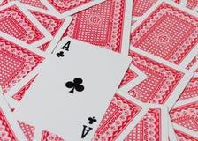 Играя карточки на деревянном столе, крупном плане Стоковая Фотография RF