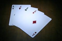 Играя карточки, покер тузов Стоковое фото RF
