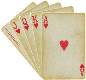 Играя карточки - прямо - на белизне Стоковое Изображение RF