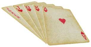 Играя карточки - прямо - на белизне Стоковые Фотографии RF