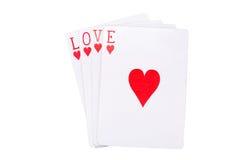 Играя карточки с массажем влюбленности Стоковые Фотографии RF