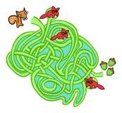 Игра лабиринта белки, гаек и лис Стоковое Изображение