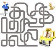 Игра лабиринта вектора: водитель такси и пассажир Стоковые Фото