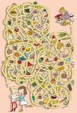 Игра лабиринта еды. Решение в спрятанном слое! Стоковая Фотография RF