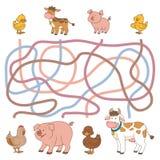 Игра лабиринта (животноводческие фермы - корова, свинья, цыпленок, утка) Стоковое фото RF