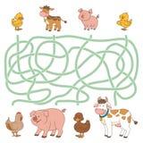 Игра лабиринта (животноводческие фермы - корова, свинья, цыпленок, утка) Стоковые Изображения