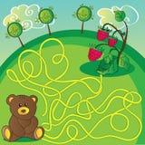 Игра лабиринта или страница деятельности Помогите медведю выбрать правый путь Стоковая Фотография RF