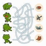 Игра лабиринта: Лягушки помощи для того чтобы найти еда Стоковая Фотография RF
