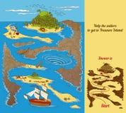 Игра лабиринта острова сокровища Стоковое Фото