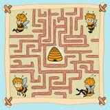 Игра лабиринта: Помогите одной из пчел считать их путь домашней Стоковое Фото