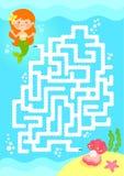 Игра лабиринта русалки Стоковое Изображение RF