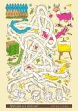 Игра лабиринта с жестяными коробками краски Стоковые Изображения