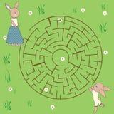 Игра лабиринта: тема животных Стоковые Изображения RF