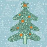 Игра лабиринта формы рождественской елки Стоковое Изображение