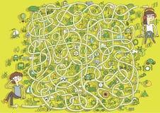 Игра лабиринта экологичности. Решение в спрятанном слое! бесплатная иллюстрация
