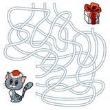 Игра лабиринта для детей: кот и подарок рождества Стоковая Фотография RF