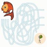 Игра лабиринта для детей (рыбы) Стоковые Фотографии RF