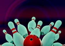 Игра боулинга с совершенной съемкой Стоковое Изображение