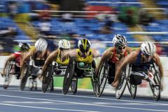 Игра 2016 Бразилии - Рио-де-Жанейро - Paralympic атлетика в 400 метров Стоковая Фотография