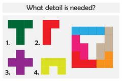 Игра головоломки с красочными деталями для детей, выбирает необходимую деталь, легкий уровень, игру для детей, preschool рабочее  иллюстрация вектора